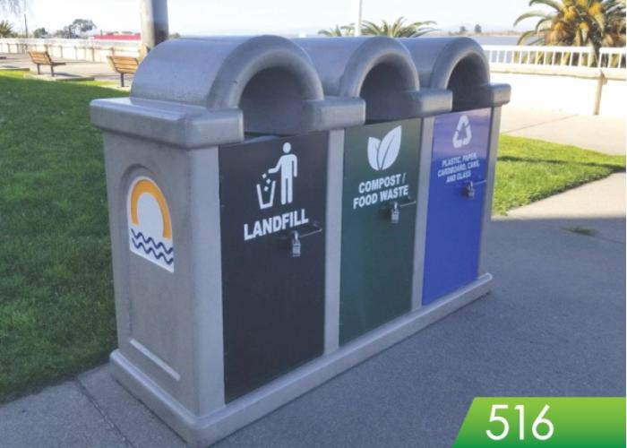 516 - Trash Recycle Compost Receptacle